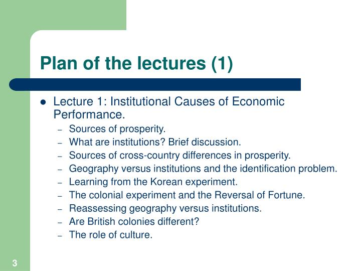 Plan of the lectures 1