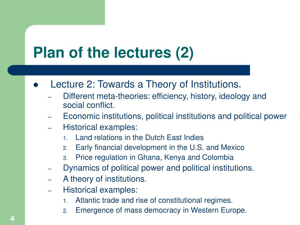Plan of the lectures (2)