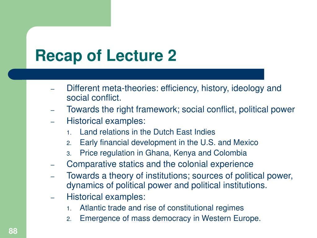 Recap of Lecture 2