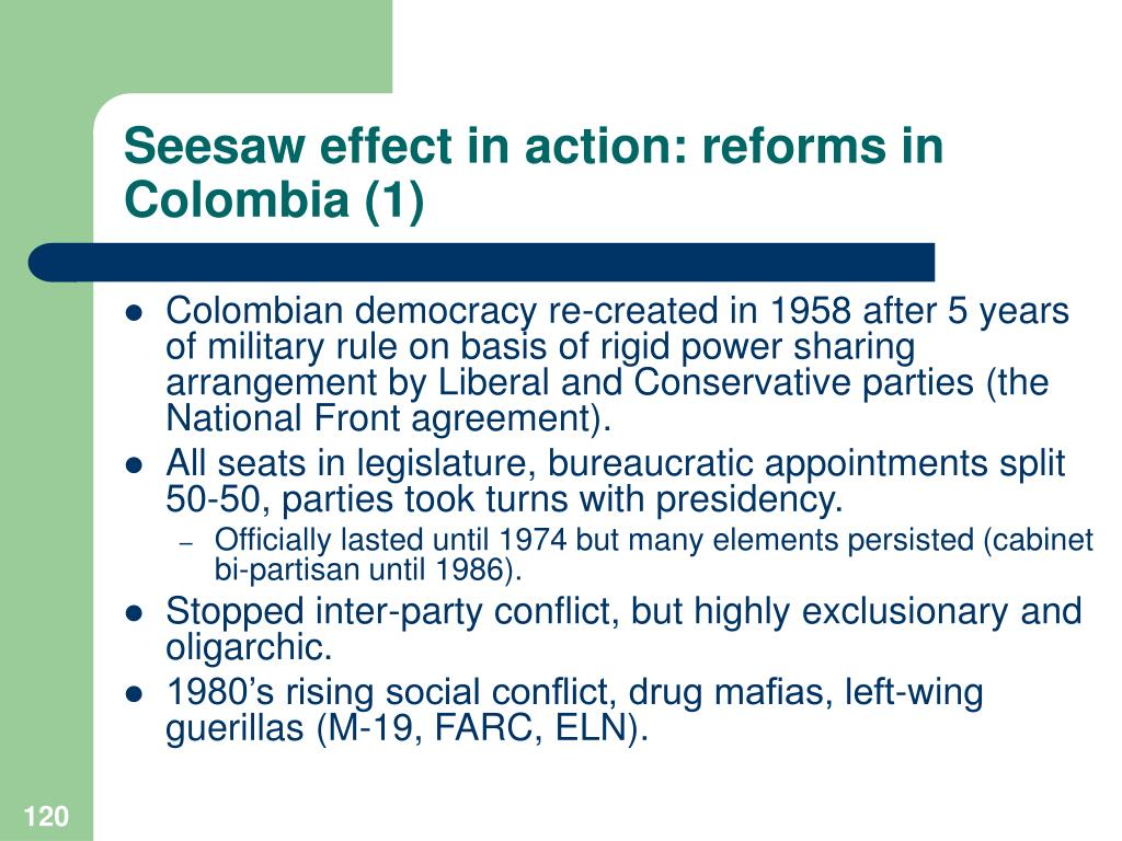 Seesaw effect in action: reforms in Colombia (1)