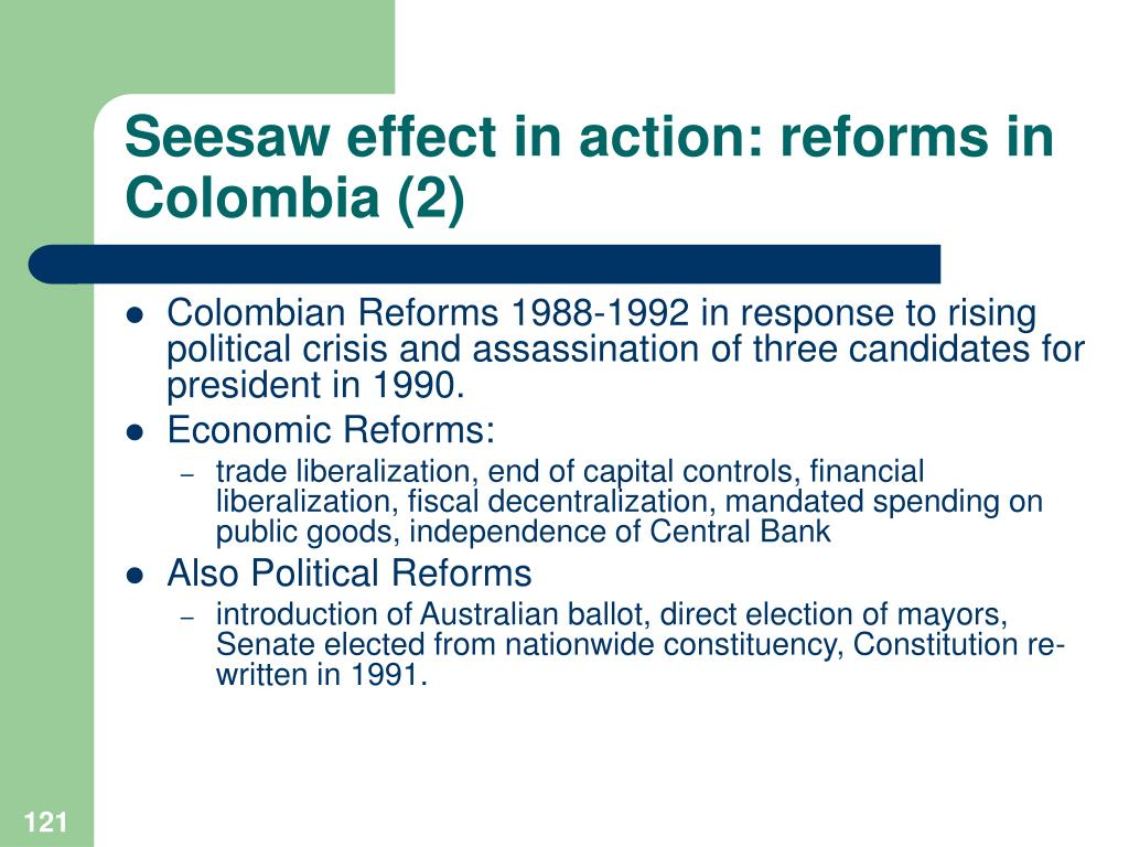 Seesaw effect in action: reforms in Colombia (2)