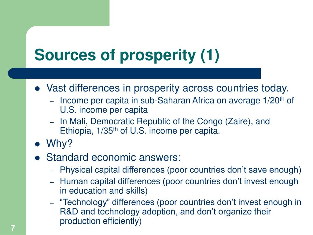 Sources of prosperity (1)