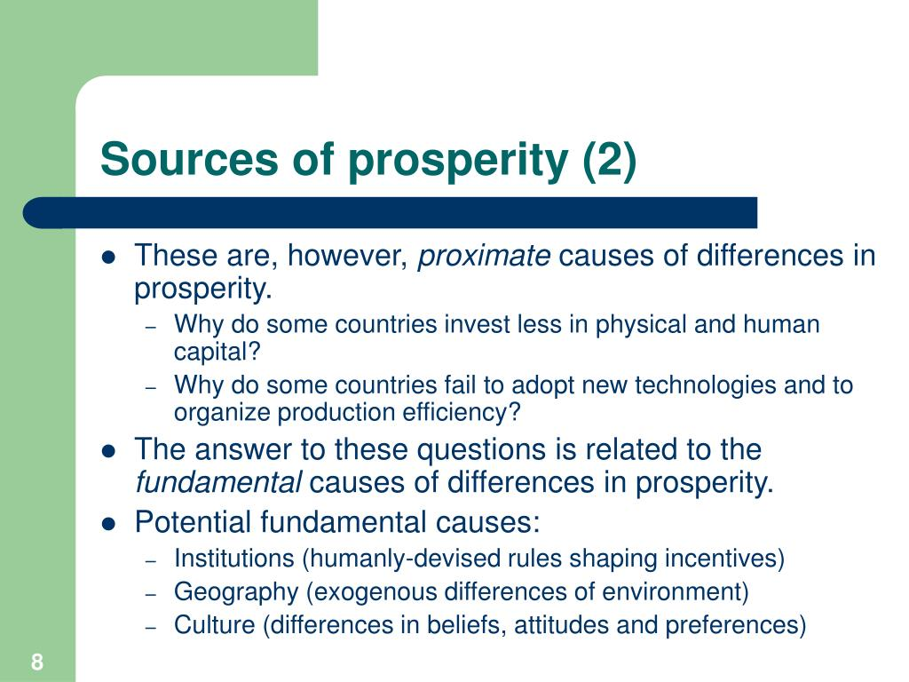Sources of prosperity (2)