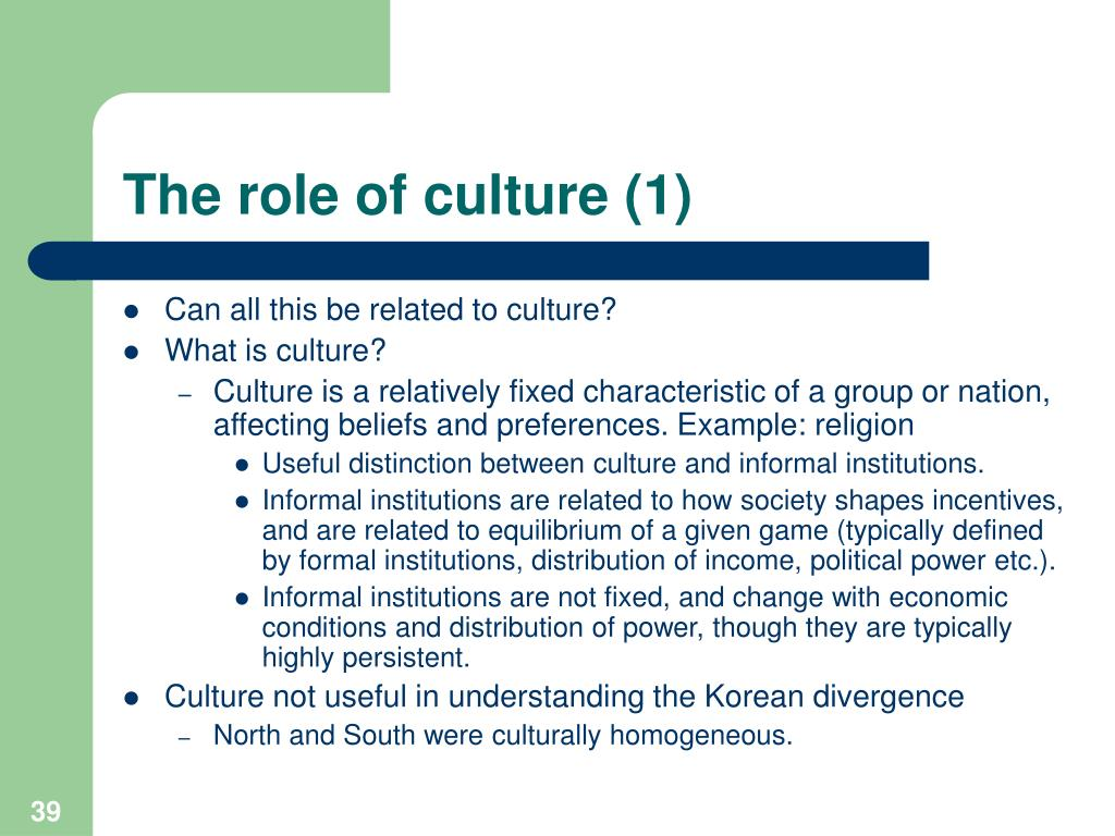The role of culture (1)