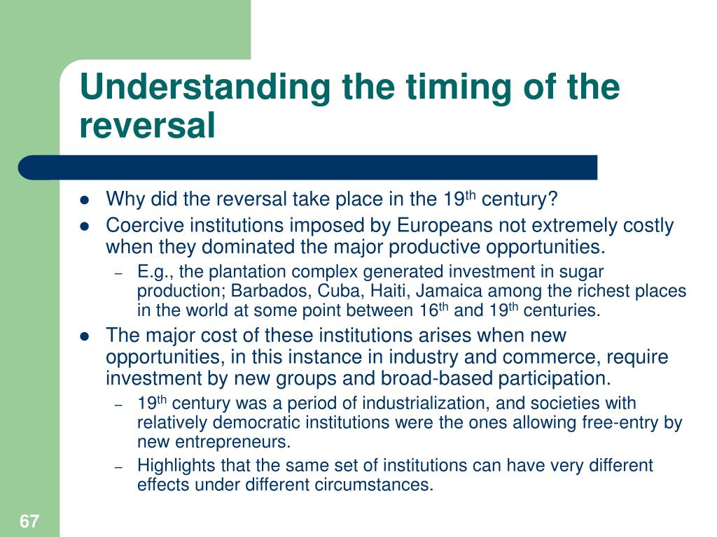 Understanding the timing of the reversal