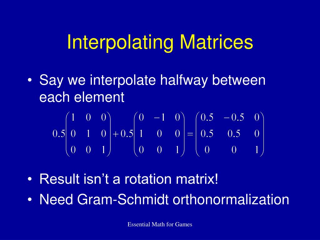 Interpolating Matrices