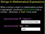 strings in mathematical expressions