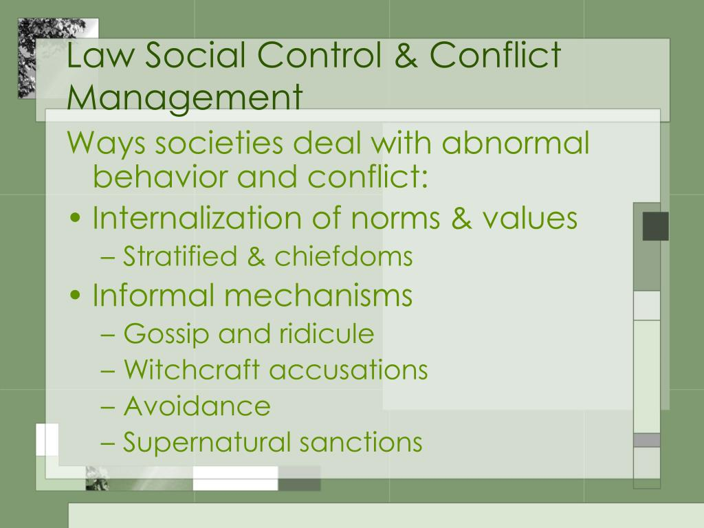 Law Social Control & Conflict Management