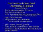 four simulators in more detail augmented explicit lagrange multipliers
