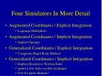 four simulators in more detail