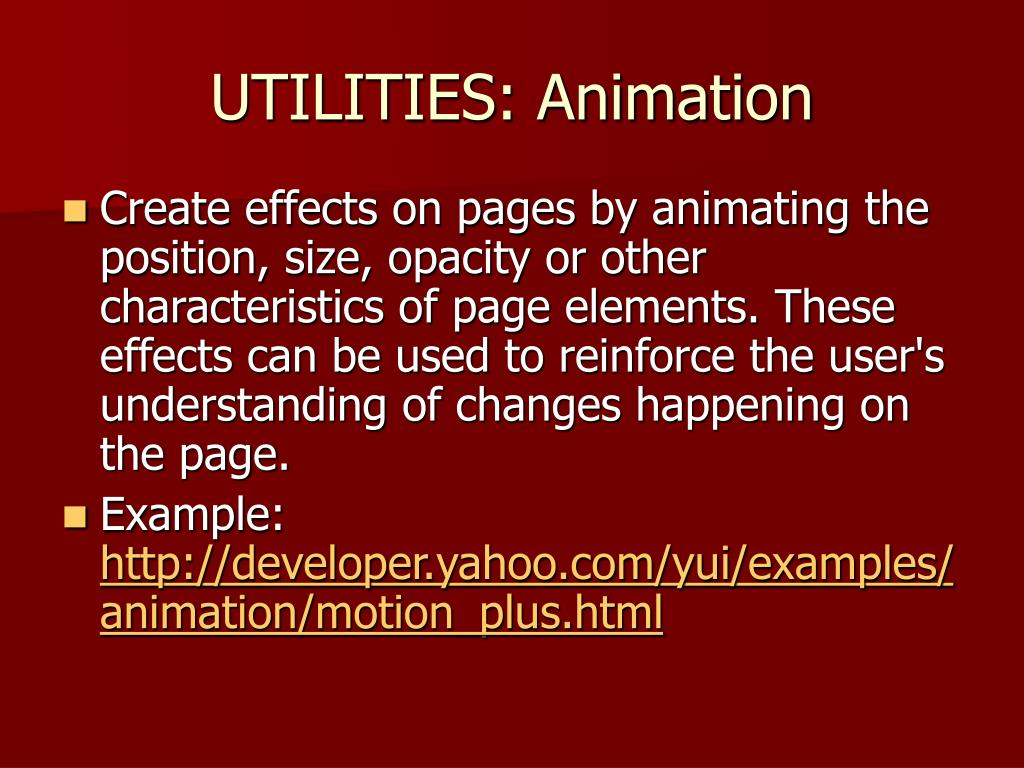 UTILITIES: Animation