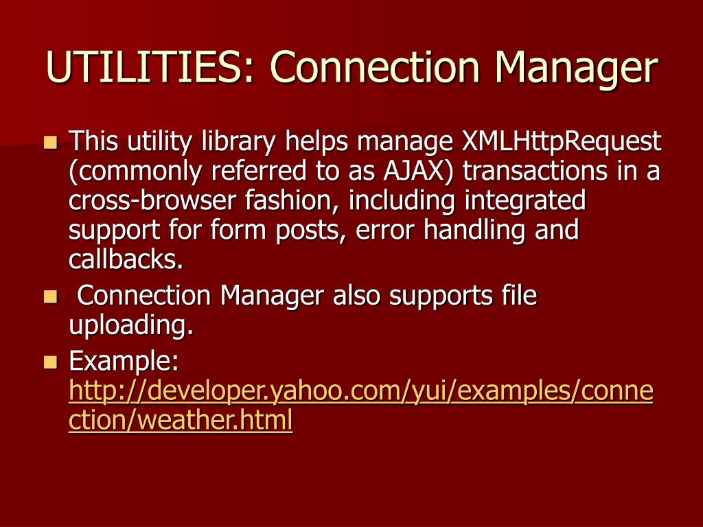 UTILITIES: Connection Manager