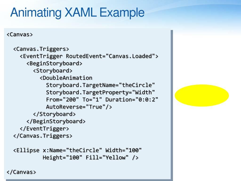 Animating XAML Example