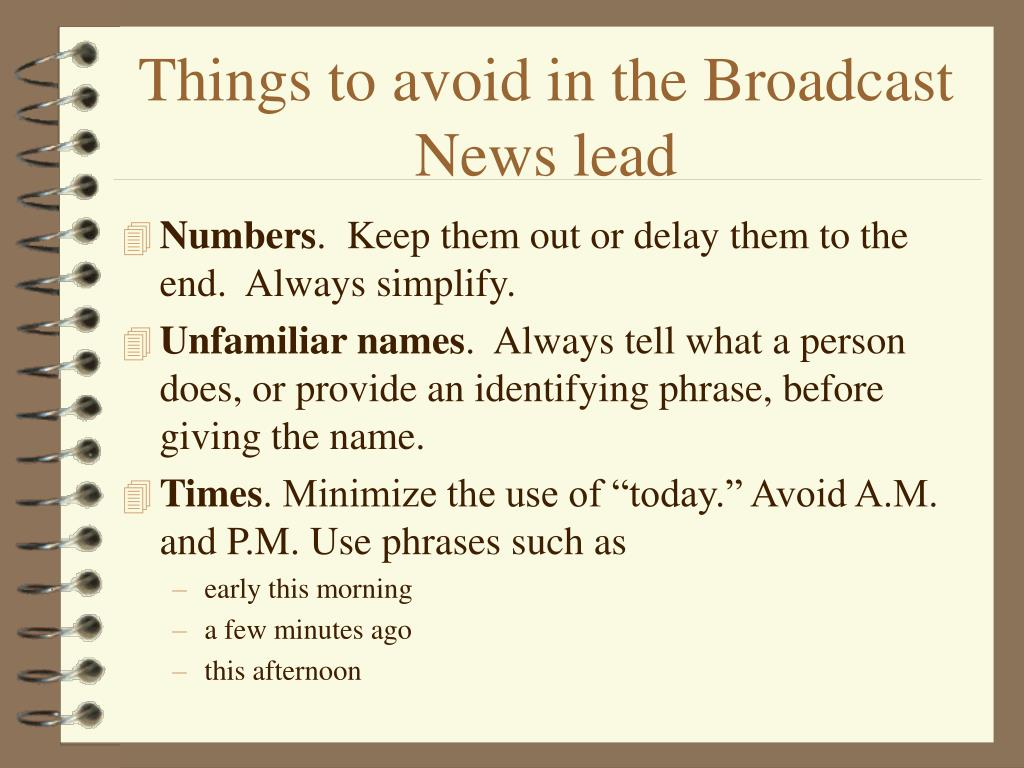 Things to avoid in the Broadcast News lead