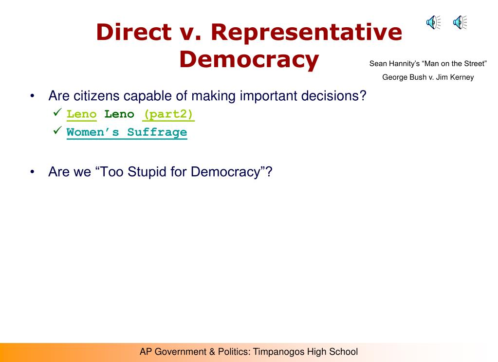 Direct v. Representative Democracy