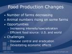 food production changes