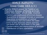 idals authority iowa code 163 1 1