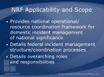 nrf applicability and scope