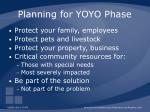 planning for yoyo phase