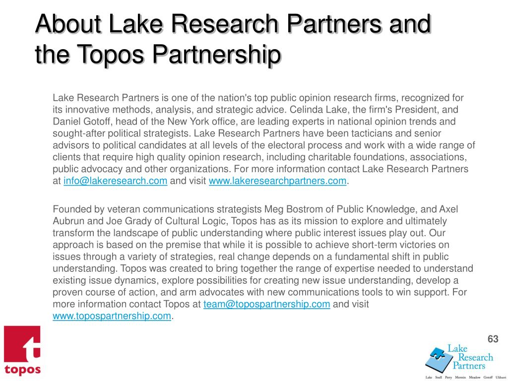 About Lake Research Partners and the Topos Partnership