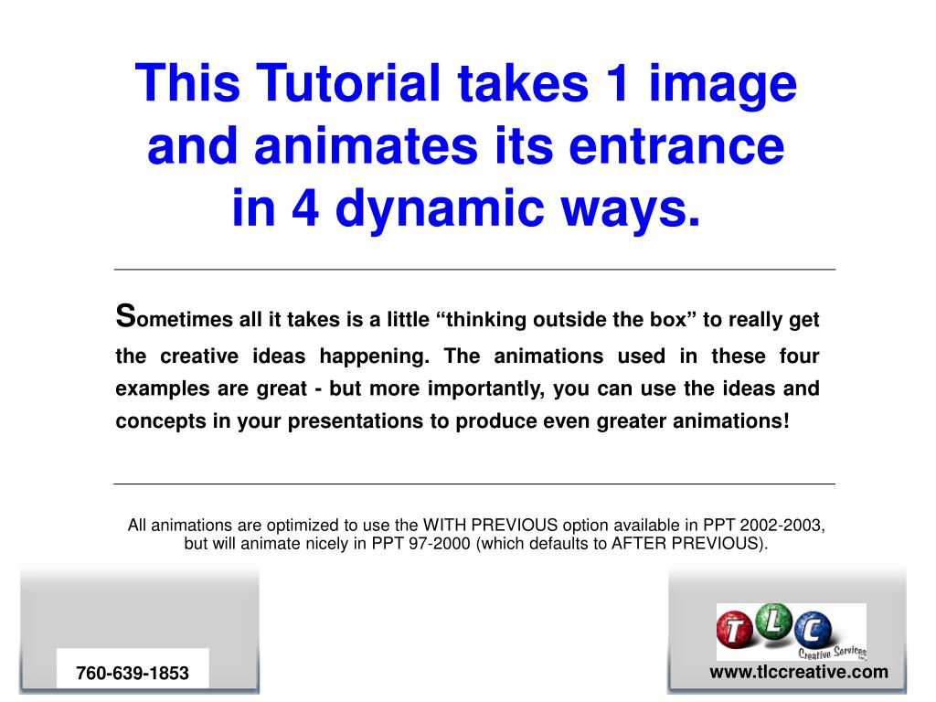 this tutorial takes 1 image and animates its entrance in 4 dynamic ways