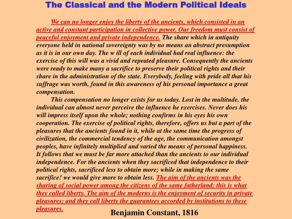 The Classical and the Modern Political Ideals