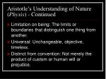 aristotle s understanding of nature physis continued