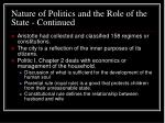 nature of politics and the role of the state continued