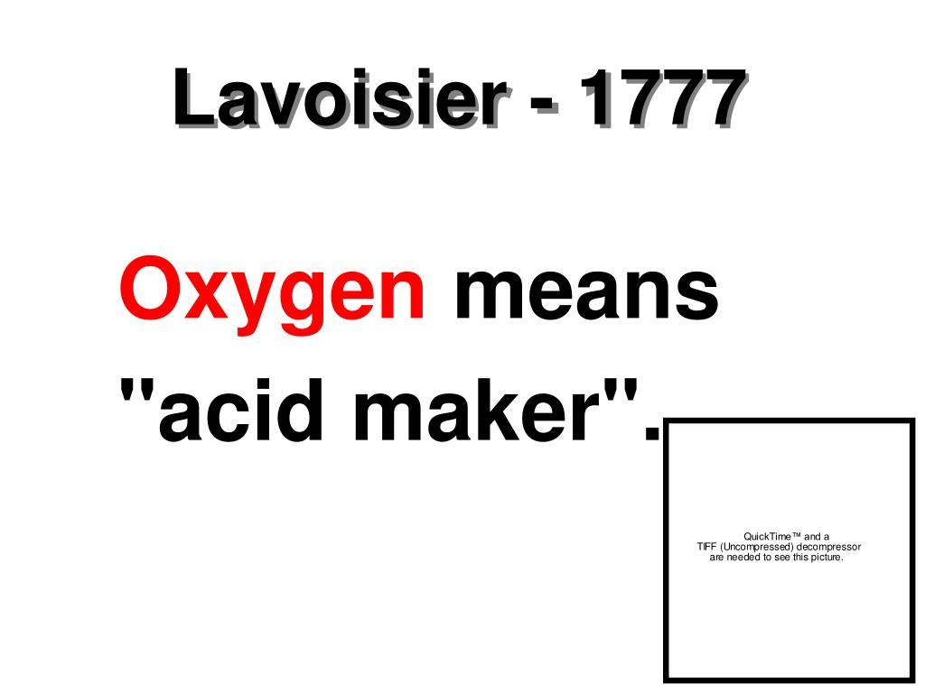Lavoisier - 1777