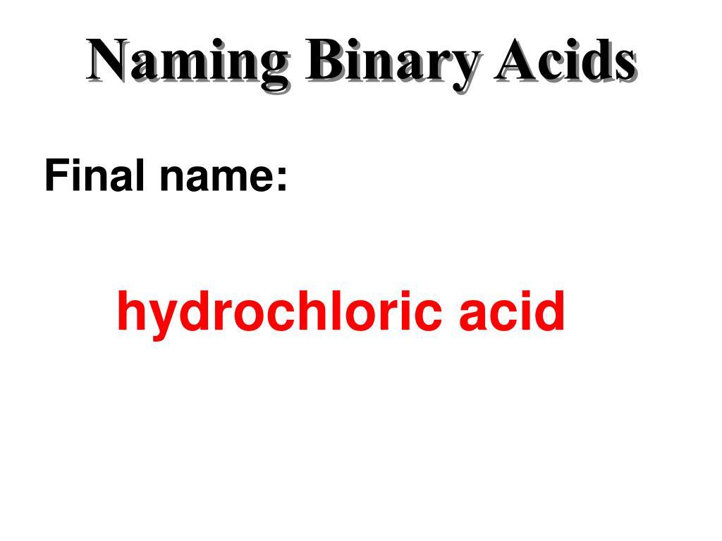 Naming Binary Acids