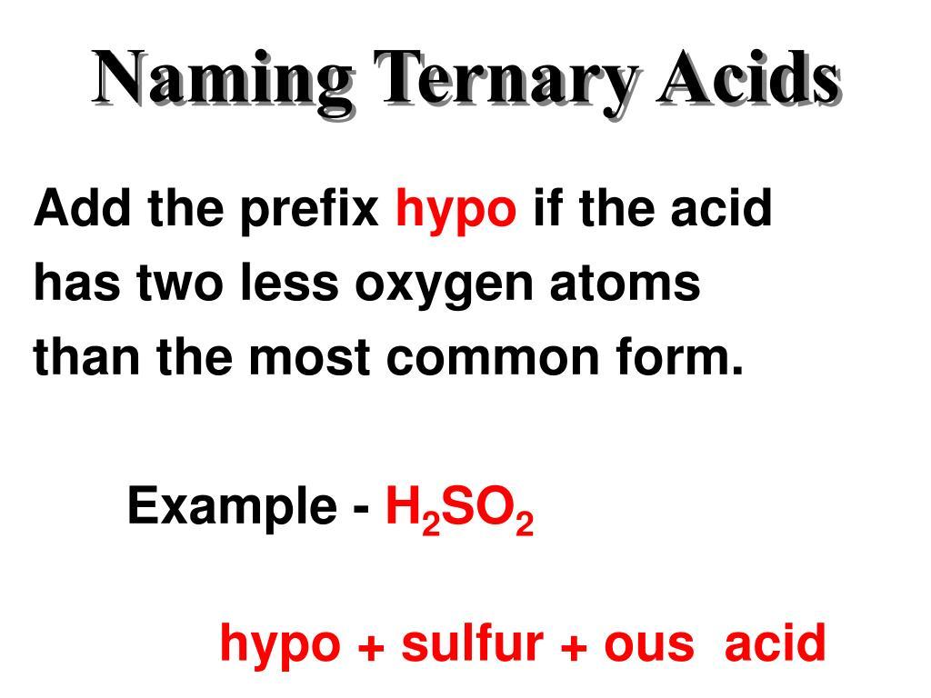 Naming Ternary Acids