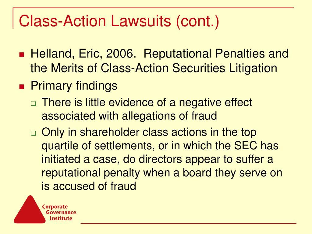 Class-Action Lawsuits (cont.)