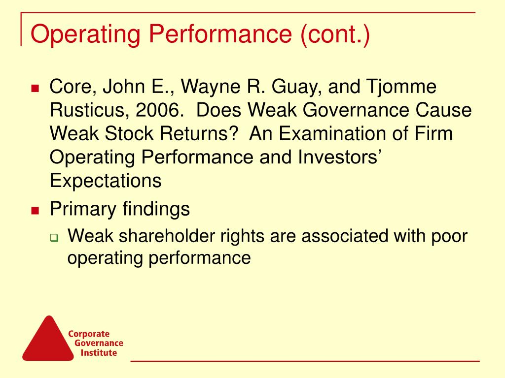 Operating Performance (cont.)