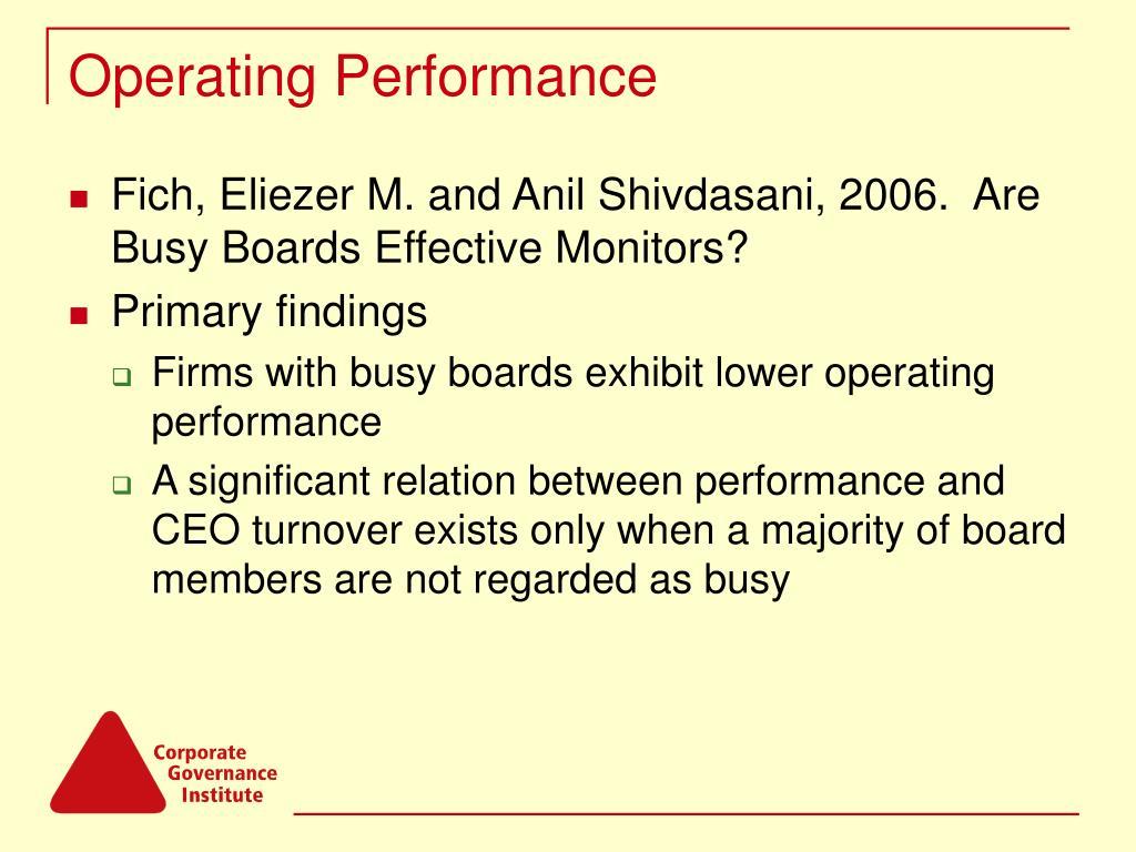 Operating Performance