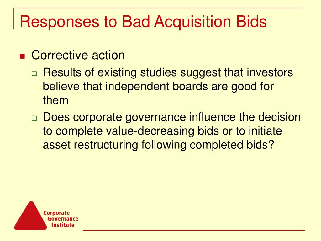 Responses to Bad Acquisition Bids