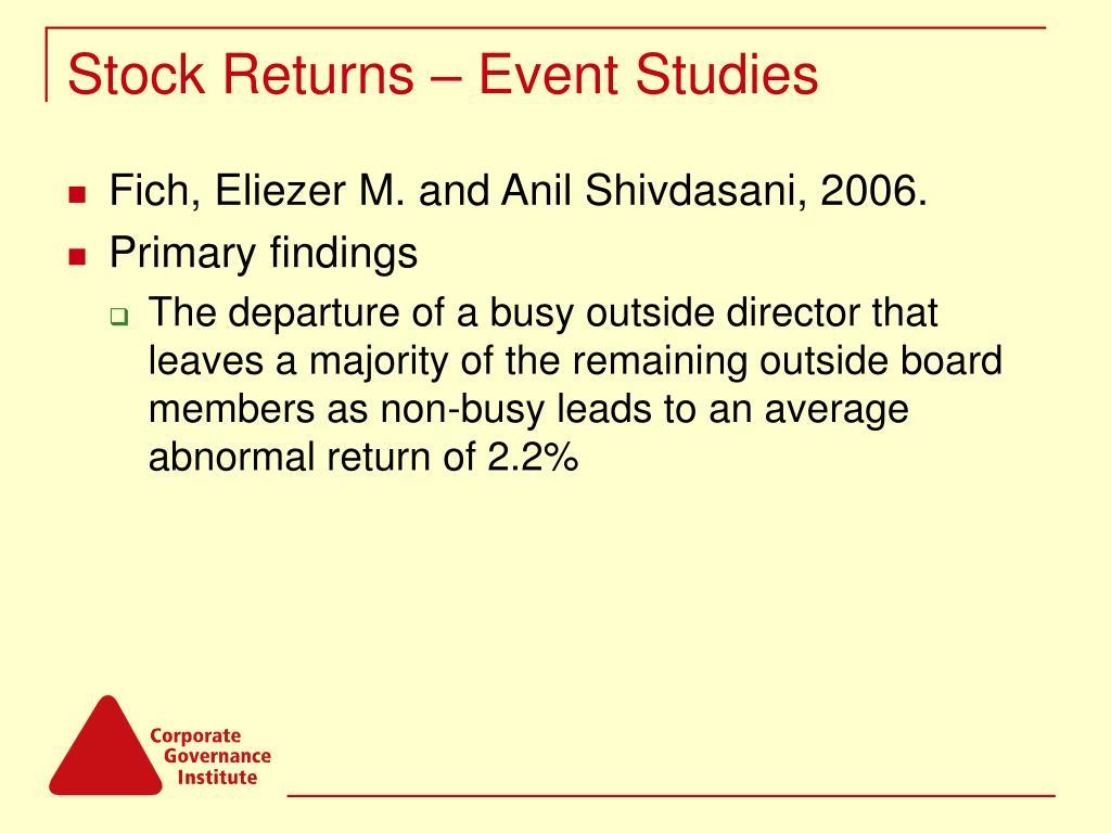 Stock Returns – Event Studies