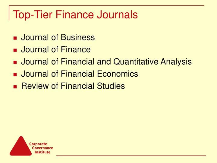 Top tier finance journals