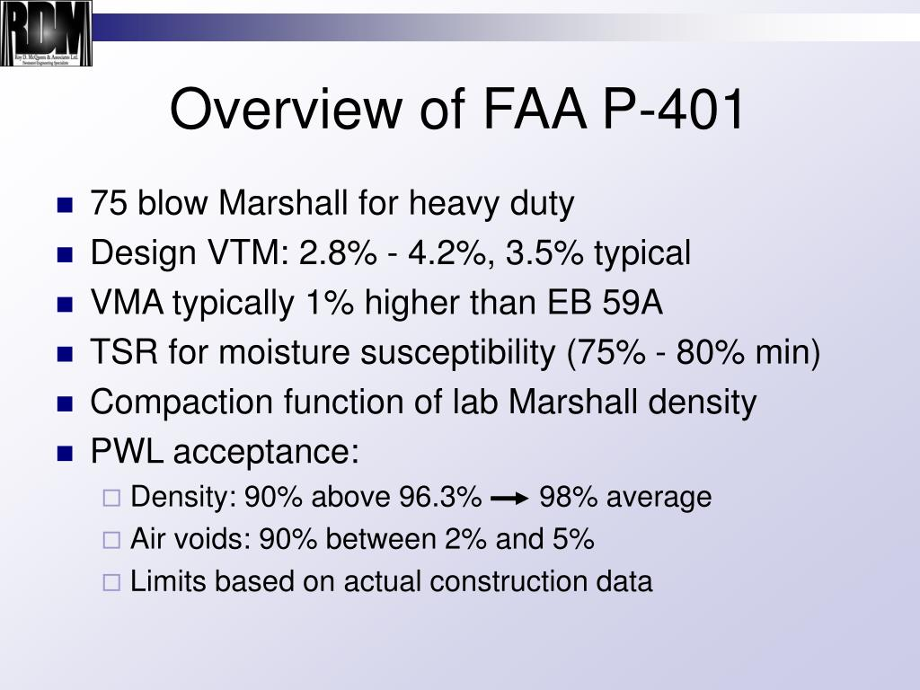 Overview of FAA P-401