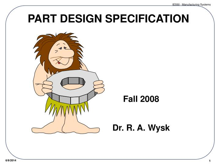 part design specification n.