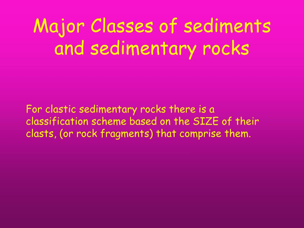 Major Classes of sediments and sedimentary rocks