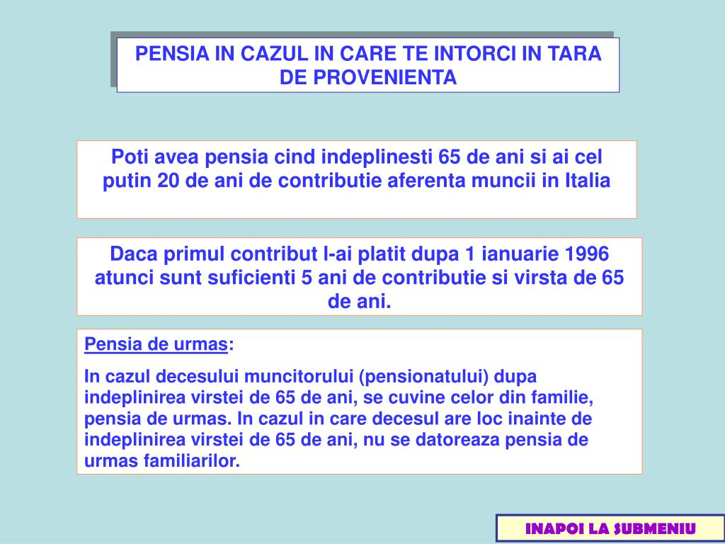 PENSIA IN CAZUL IN CARE TE INTORCI IN TARA DE PROVENIENTA