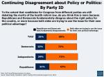 continuing disagreement about policy or politics by party id
