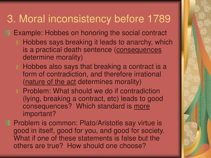 3. Moral inconsistency before 1789