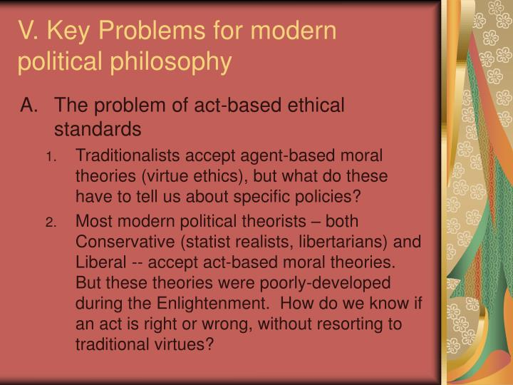 V. Key Problems for modern political philosophy