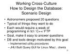 working cross culture how to design the database scenario design