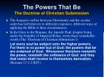 the powers that be the doctrine of christian submission