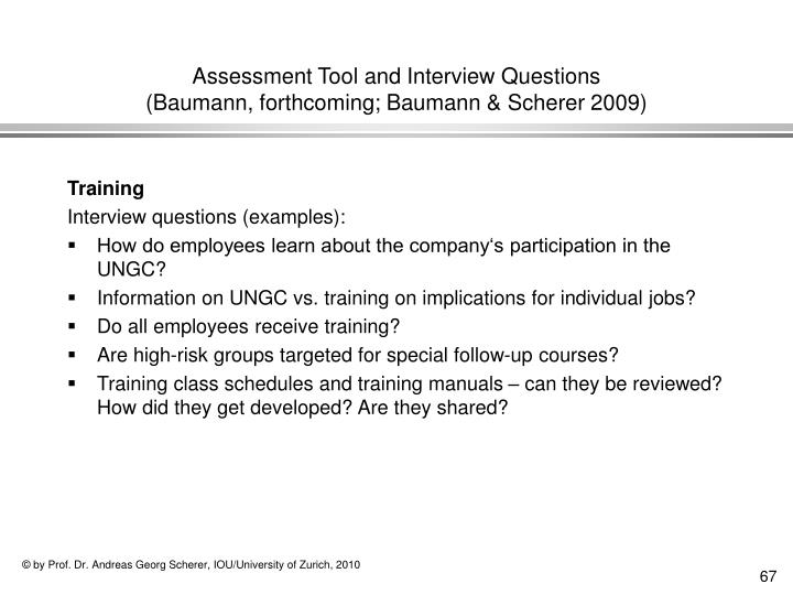 Assessment Tool and Interview Questions