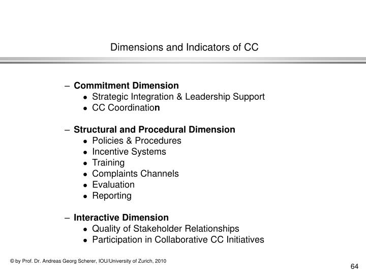 Dimensions and Indicators of CC