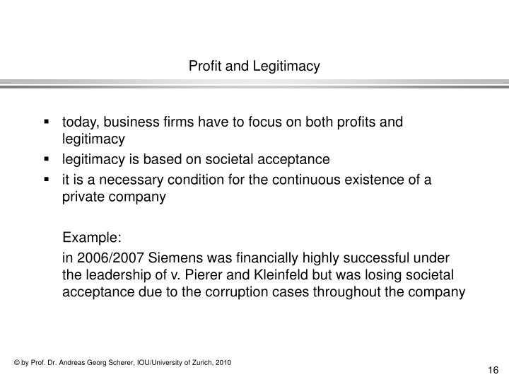 Profit and Legitimacy