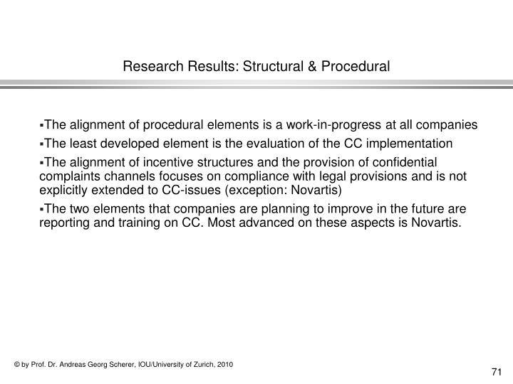 Research Results: Structural & Procedural